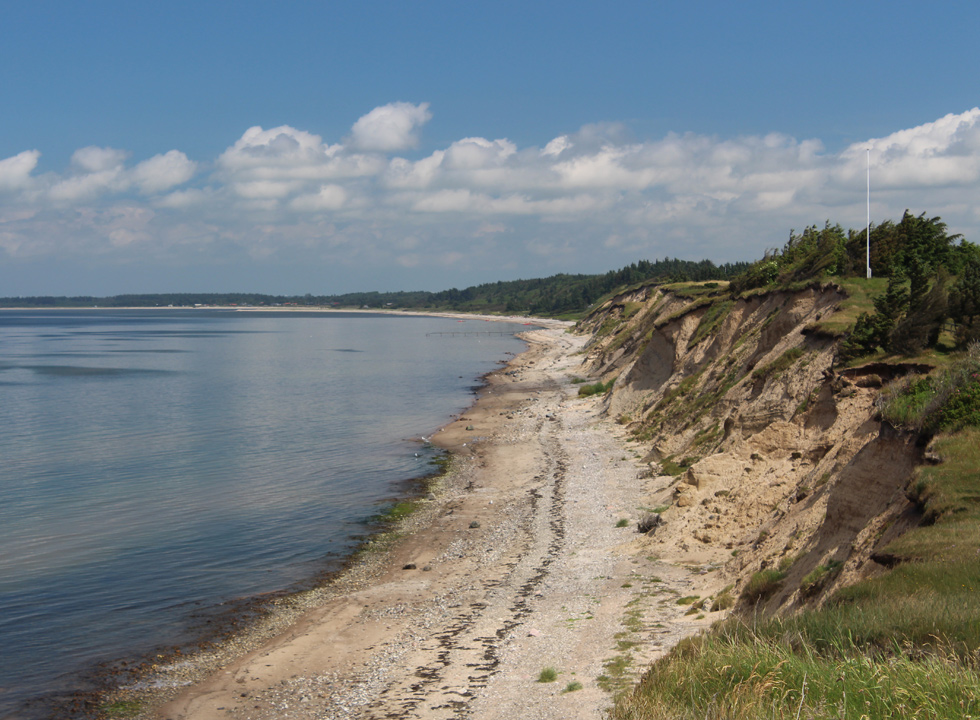 The beach and the high slopes of the Limfjord shore in Ertebølle