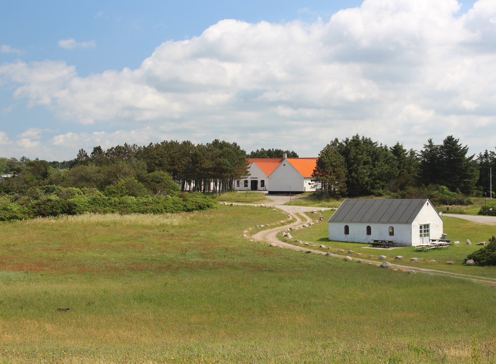 Green area between the shore and the stone age centre Stenaldercentret in Ertebølle