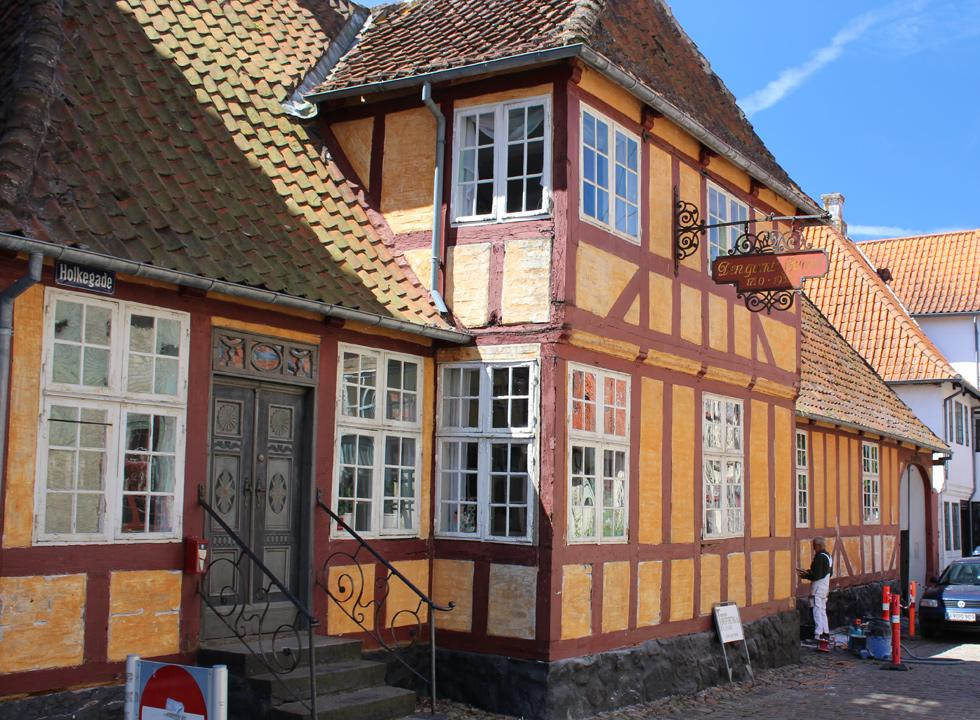 One of the many historic half-timbered houses in the centre of Fåborg
