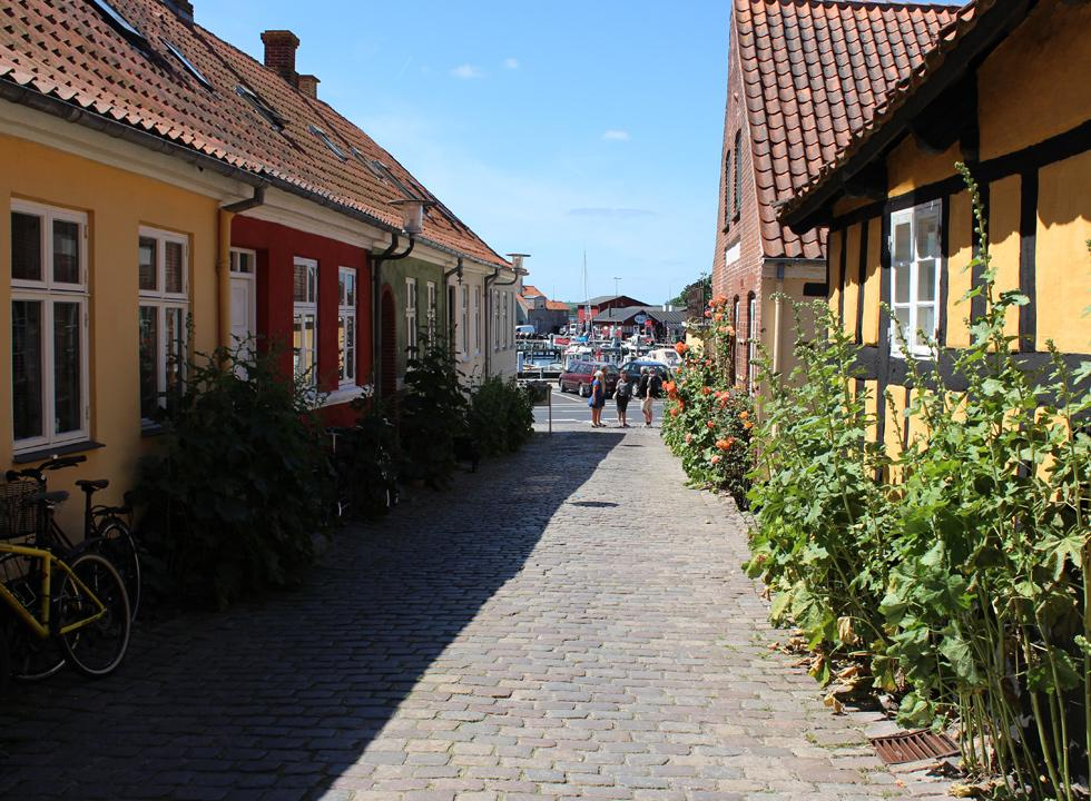 A cosy cobbled street, which leads down to the harbour of Fåborg
