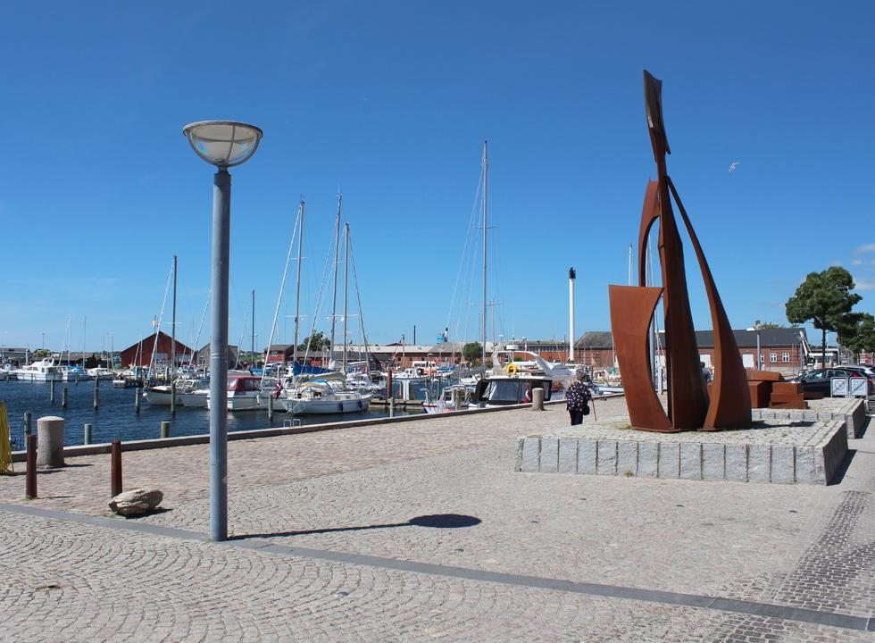 Beautiful sculptures by the marina in Fåborg