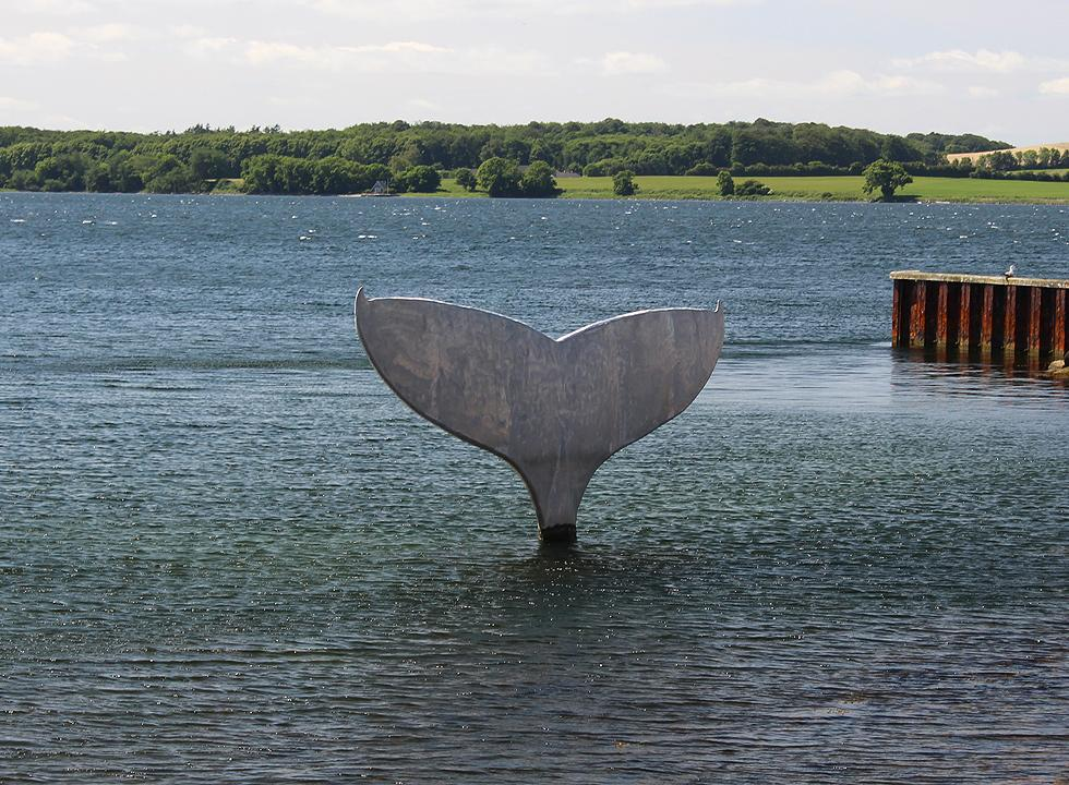 Art, in the shape of a whale fin, in the harbour of Fåborg