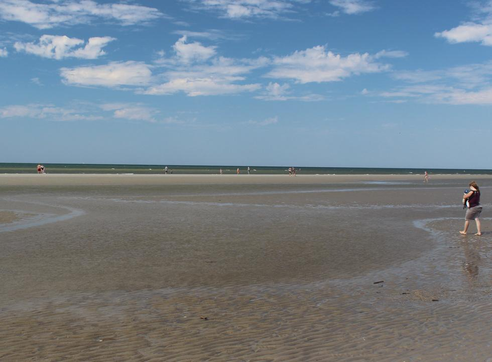 The wide and inviting bathing beach in Fano Bad