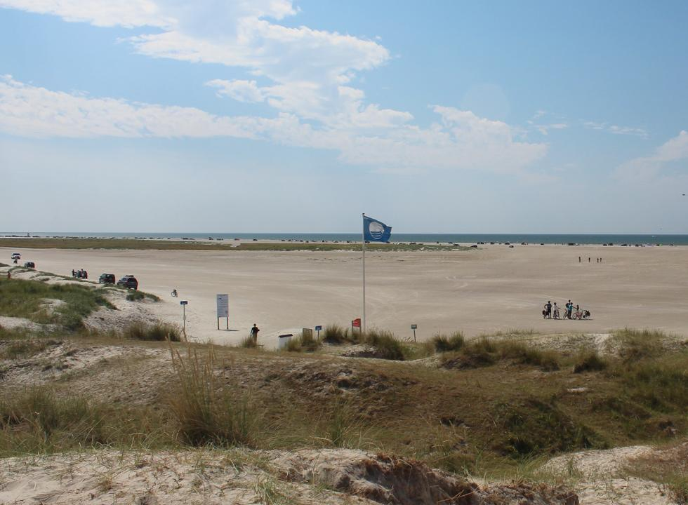 The wide sandy beach in Fanø Bad, which is located close to the holiday homes of Fanø, Grøndal