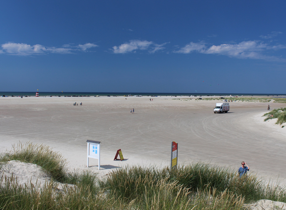 View of the wide sandy beach in Rindby, close to Fanø, Nyby