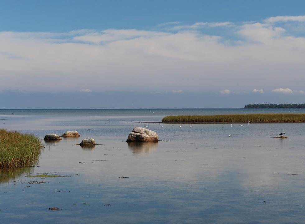 The tranquil water in the bay, by the dam, leading to the peninsular Skalø on Fejø