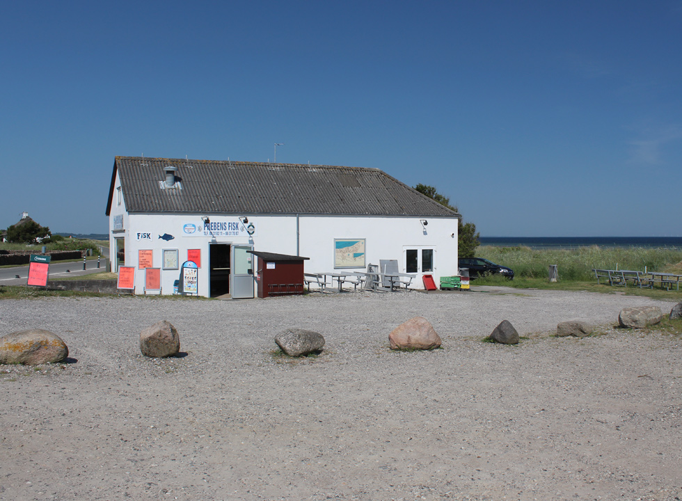 Buy fresh fish at the fishmonger behind the beach in the holiday area Fjellerup Strand