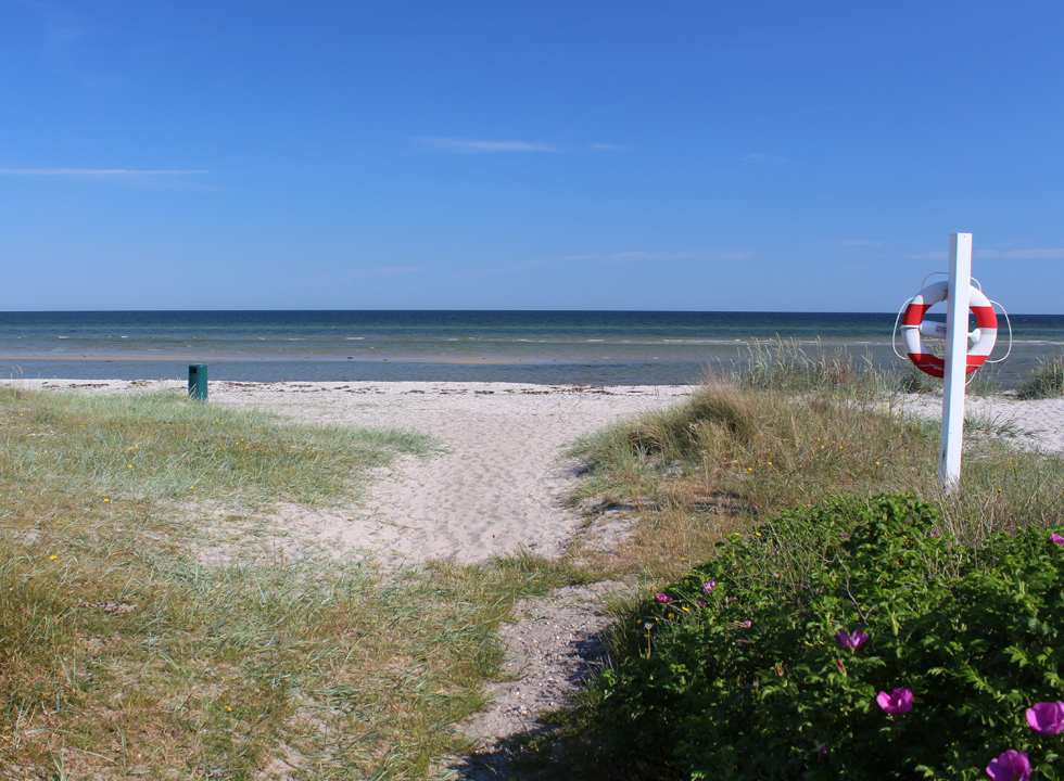 White sand and shallow clear bathing water by the beach of the holiday area Fjellerup Strand