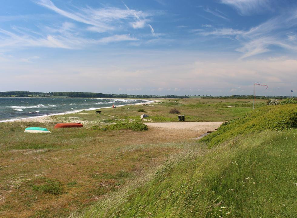 View of the beach and the nature area behind the shore in the holiday home area Flovt