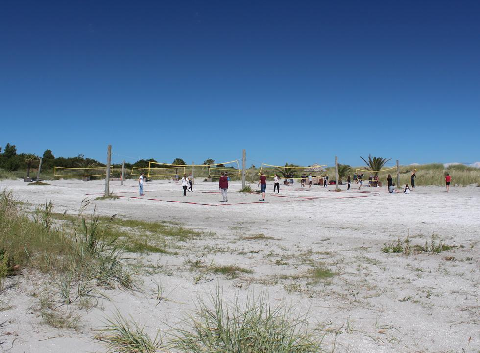 Beach volley courses behind the palm beach in the holiday area Frederikshavn