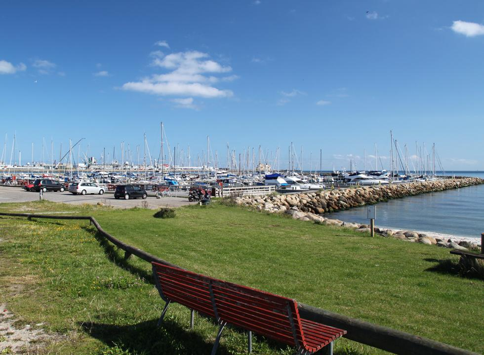The evocative marina in Frederikshavn with a view of the ferry harbour