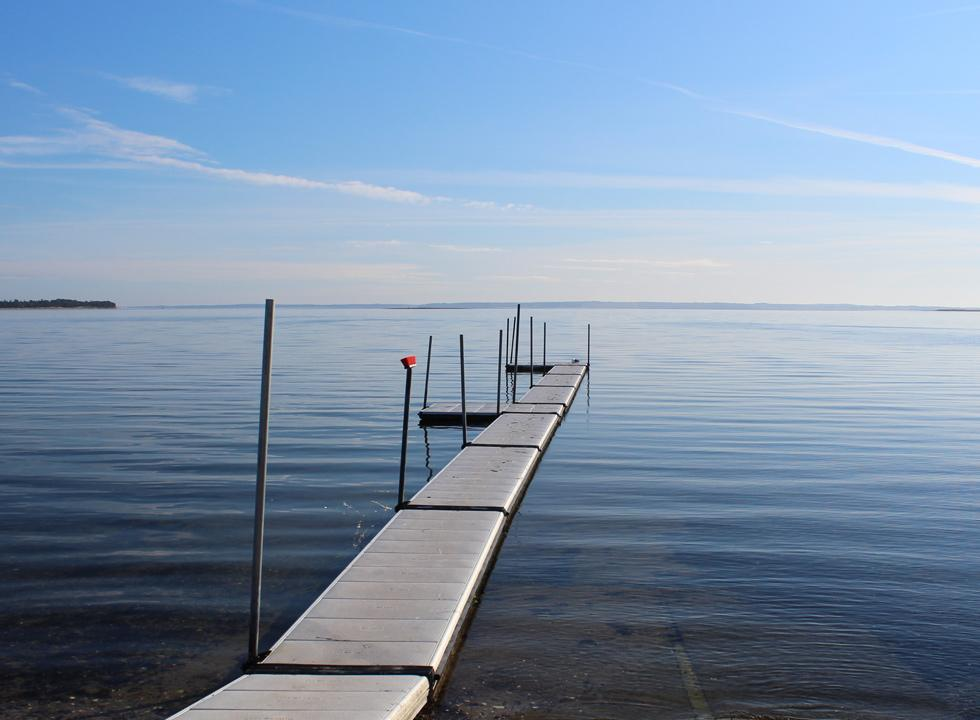 A bathing jetty near the ferry berth on Fur