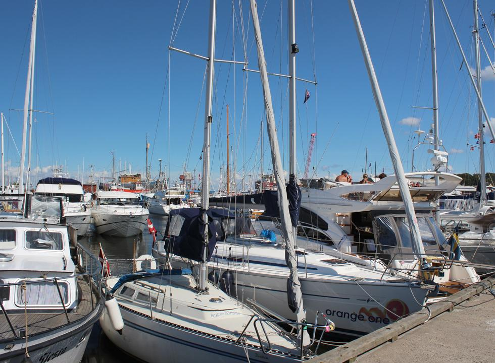 The brisk marina with countless beautiful sailing ships and motor boats in Gilleleje