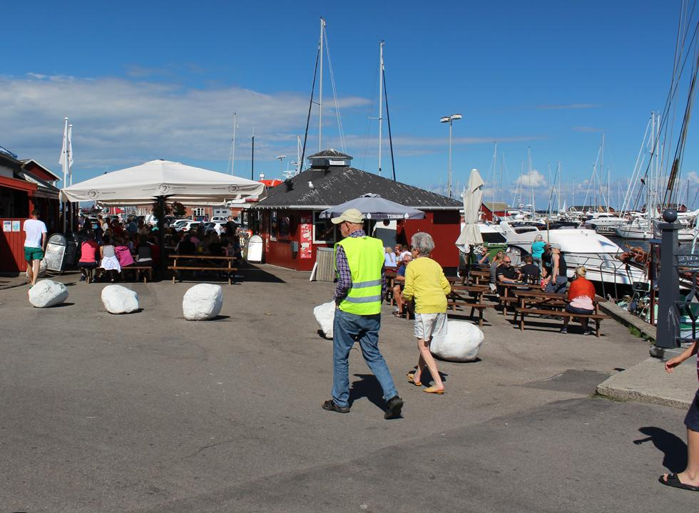 One of the many eateries with fresh fish in the marina of Gilleleje