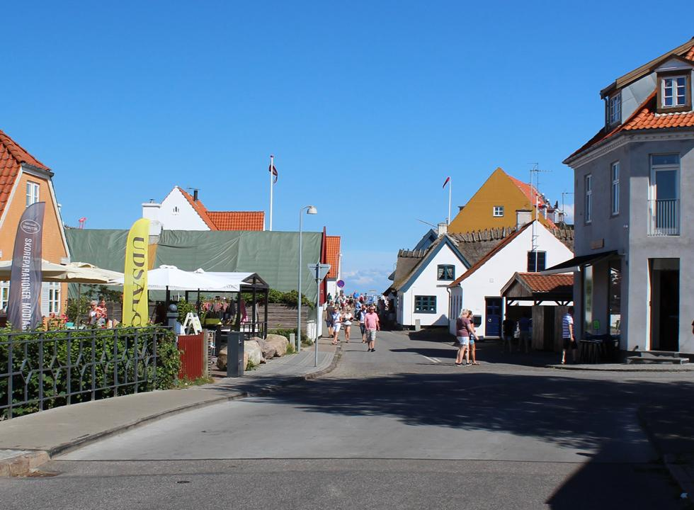 One of the cosy streets with shops and eateries in Gilleleje