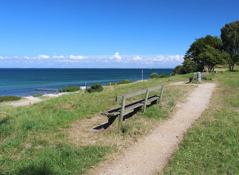 View bench in the park behind the beach in Gilleleje Strandbakker