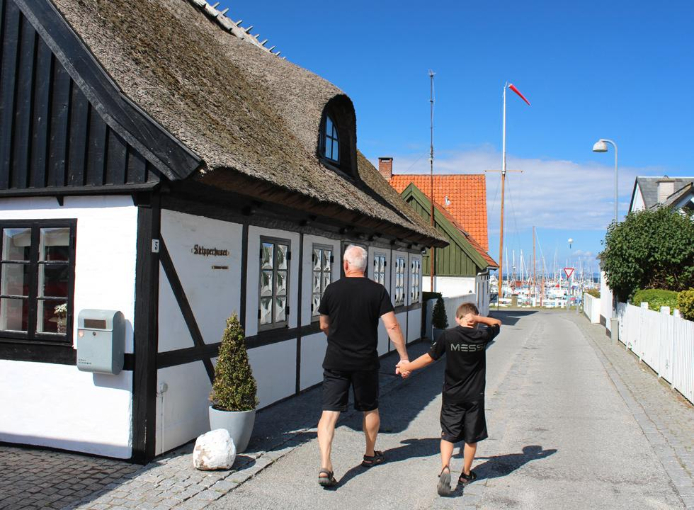 The old quarter in Gilleleje with streets, which lead down towards the harbour