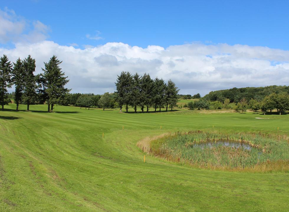 View of the green and well-kept golf course in Gistrup