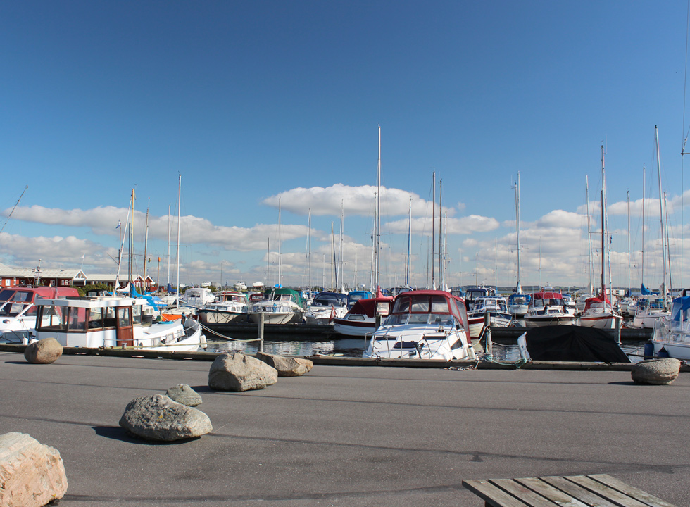 View of the many sailboats in the harbour of Gjøl