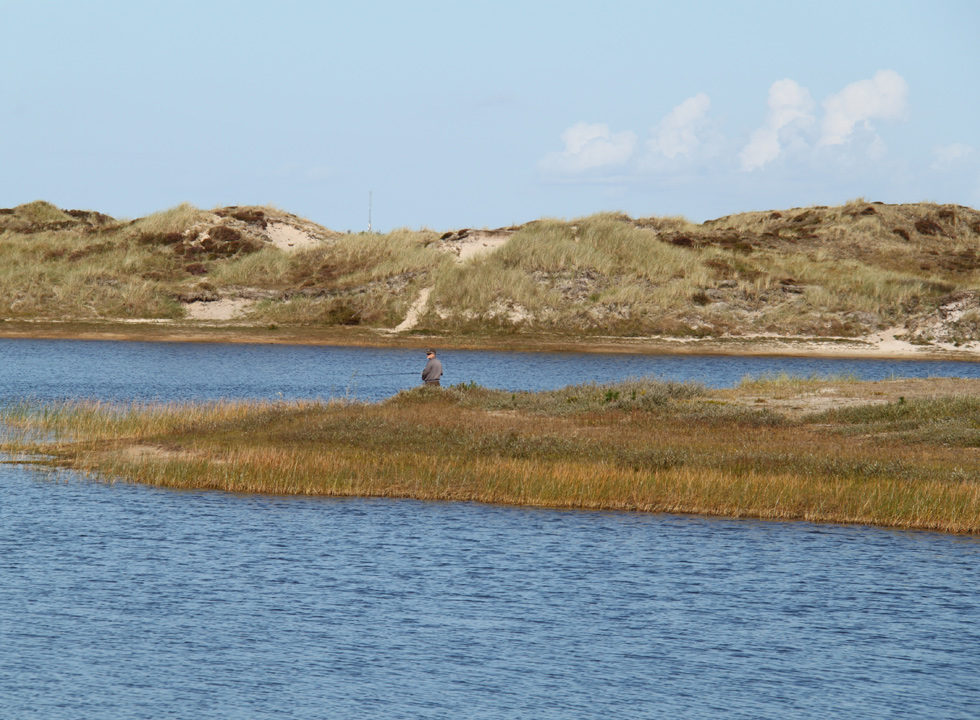 Angler by the fishpond, Grærup Fiskesø, which is surrounded by a beautiful dune landscape