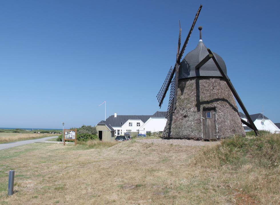 The mill, Lyngmøllen, by the approach to the beach of Grønne Strand