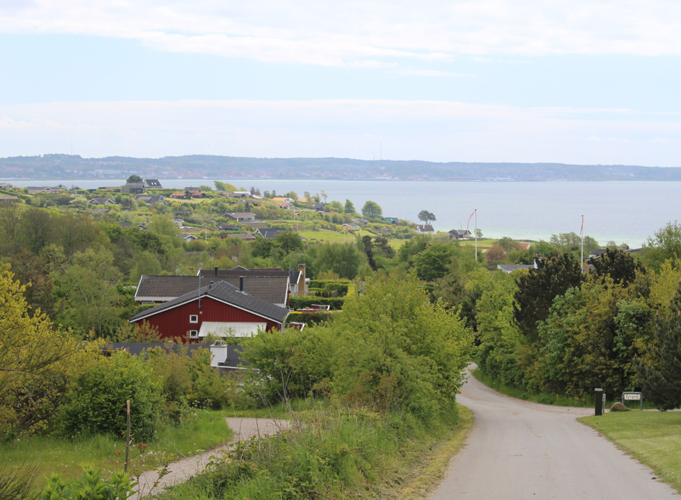 View of the bay Ebeltoft Vig from the top of the holiday home area Handrup