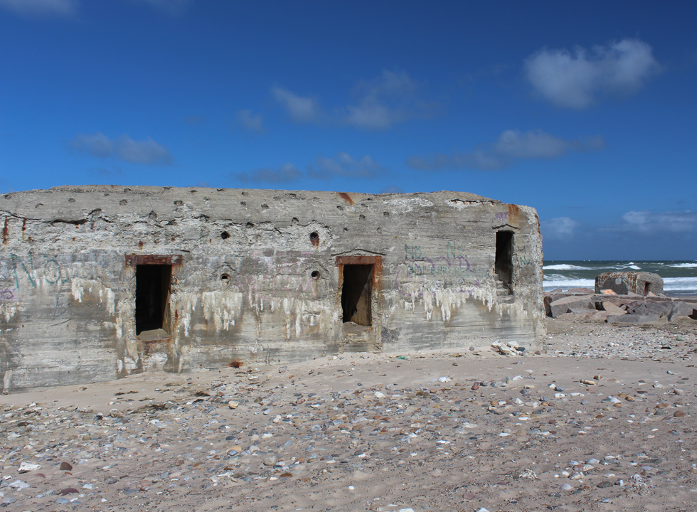 Bunkers on the beach in the holiday area Harboør