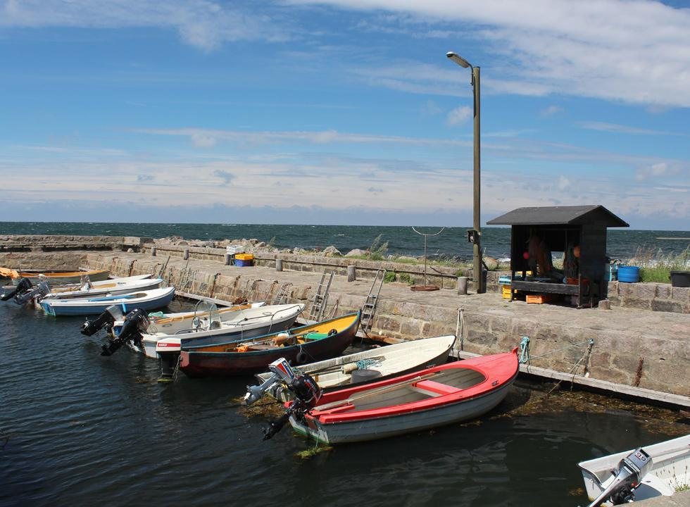 The idyllic boat harbour in the fishing hamlet, Helligpeder, 3 km from Hasle