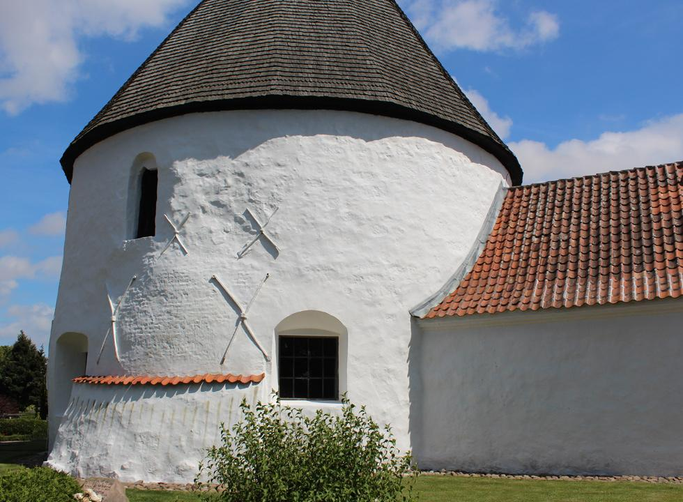 Nyker Rundkirke, 7 km from Hasle, is the smallest and youngest round church on Bornholm