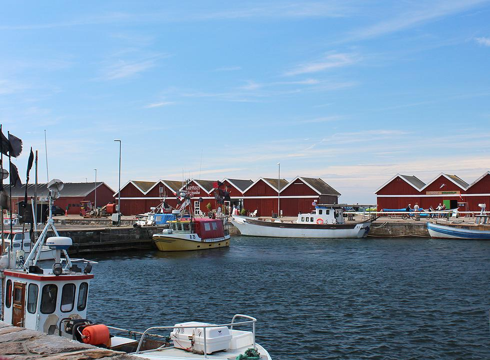 The fishing harbour in Hasle with the characteristic red harbour houses