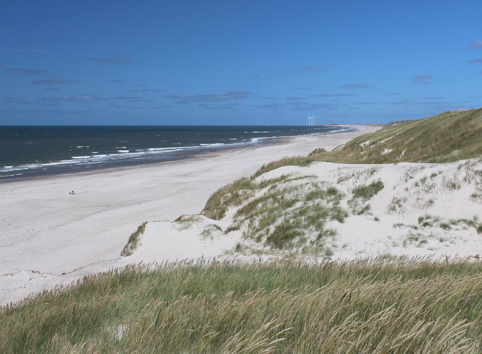 View of the beach in Haurvig from the high dunes