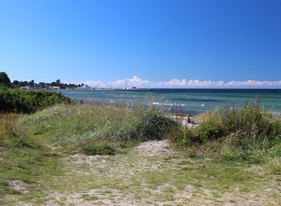 The beach in Havnsø is situated by the holiday homes, just north of the ferry harbour and marina
