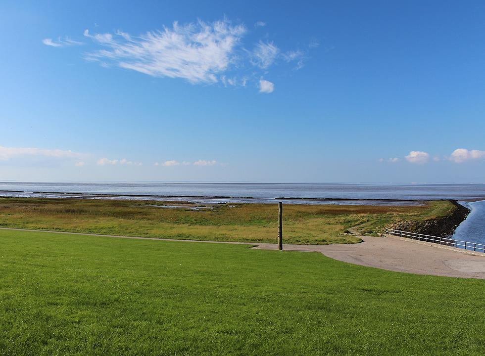 View of the marsh and the Danish Wadden Sea from the lock Hojer Sluse