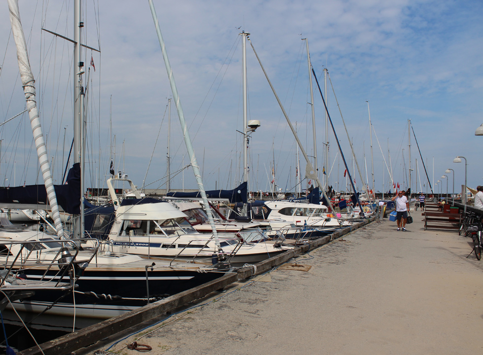 Long rows of yachts in the cosy marina in Hornbæk