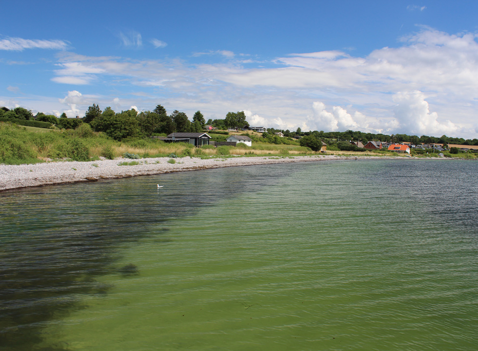 View along the shore towards the holiday homes in Horne Sommerland