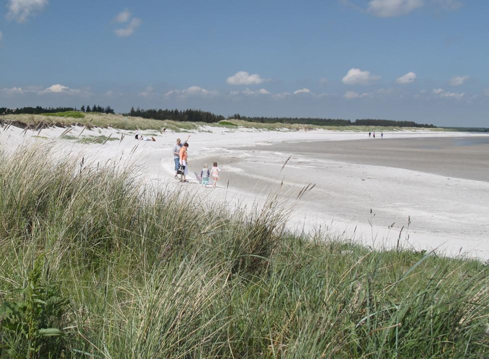 Bathers on the child-friendly beach Nordstranden in Hou