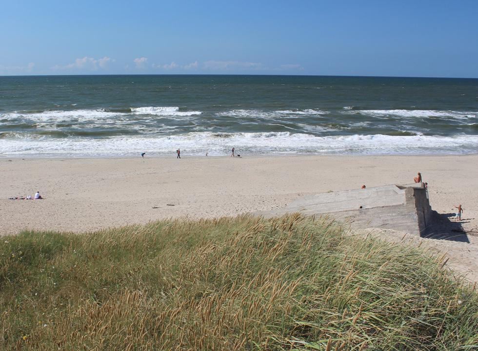 View of the beach in Houvig from the high dunes of the tongue Holmsland Klit