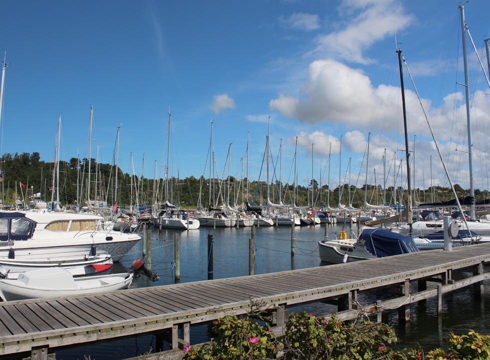 The beautiful marina, below the steep slopes in Lynæs near Hundested