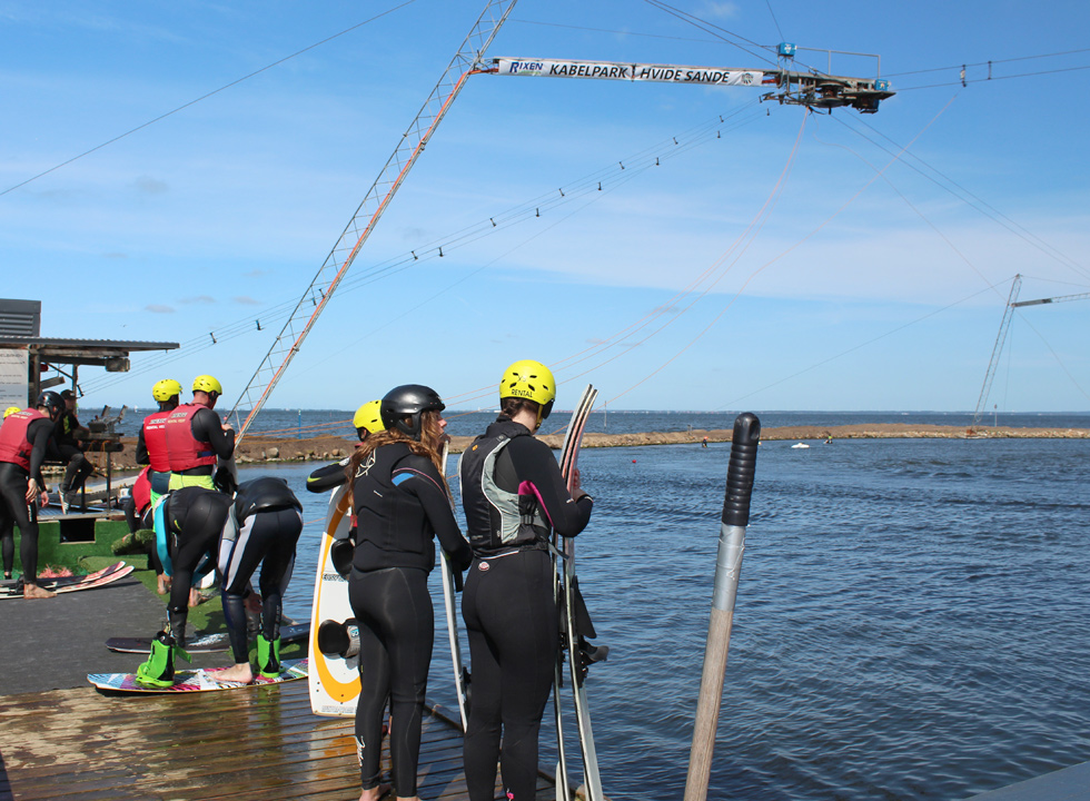 Water skiers await their turn in the cable park in Hvide Sande