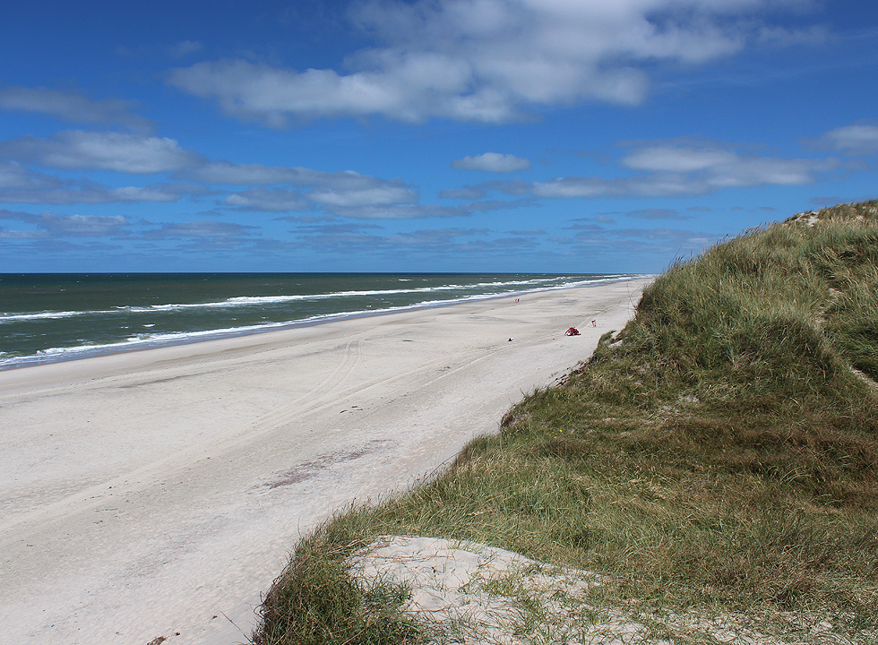 View of the lovely bathing beach from the high dunes in Klegod