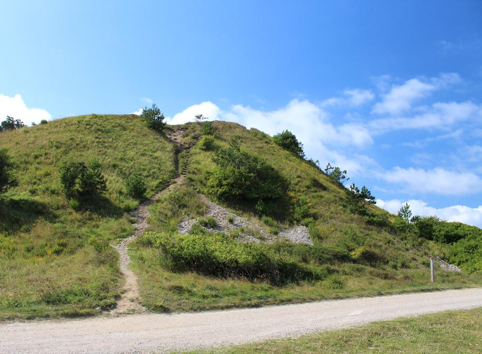 Steep path, leading to the top of the hill, in the nature area Klintebjerg in Klint