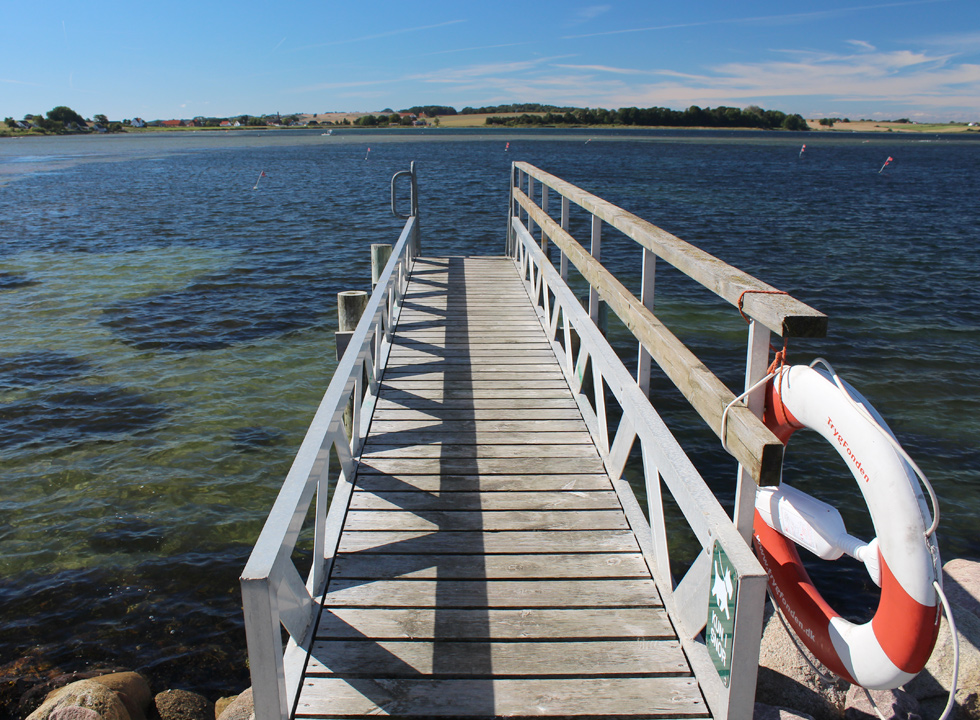 You can jump into the water from the bathing jetty in the marina of Knebel