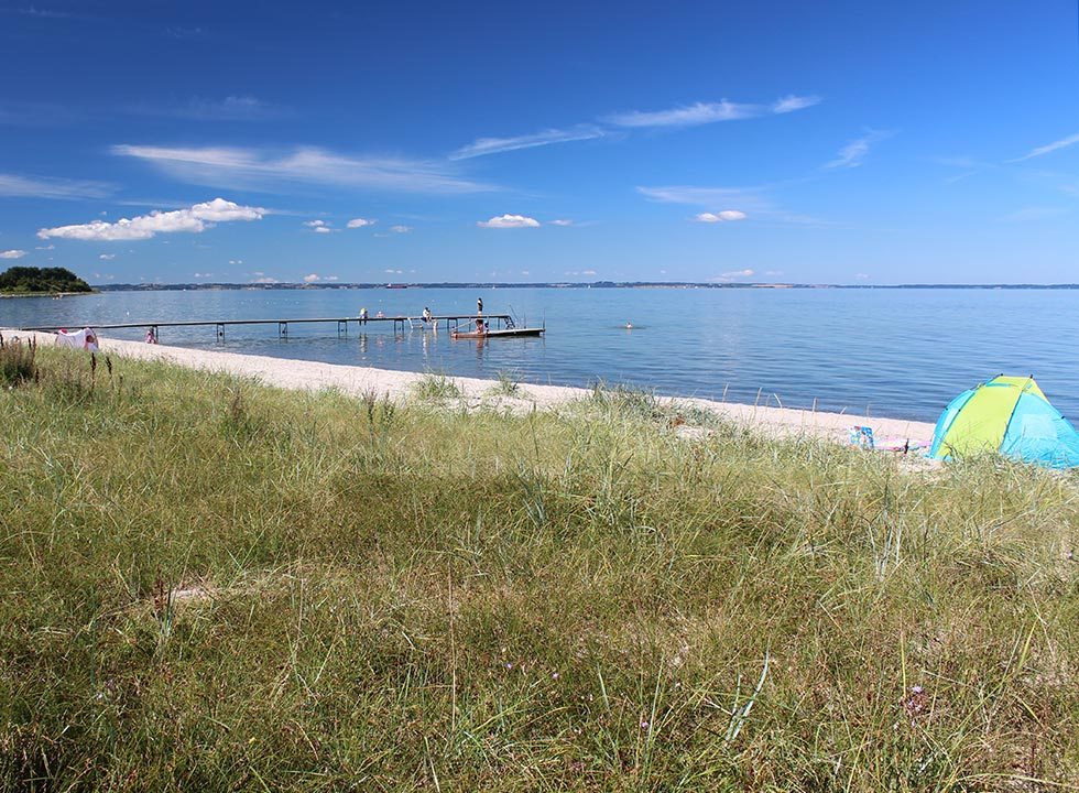 View of the beach and the bathing jetty from the green spaces behind the beach in Købingsmark