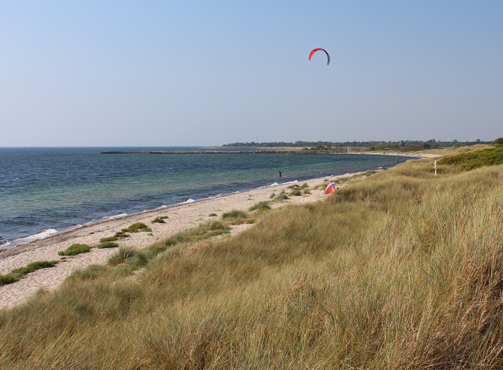 Kitesurfer on the fine bathing beach in the holiday home area Kramnitse
