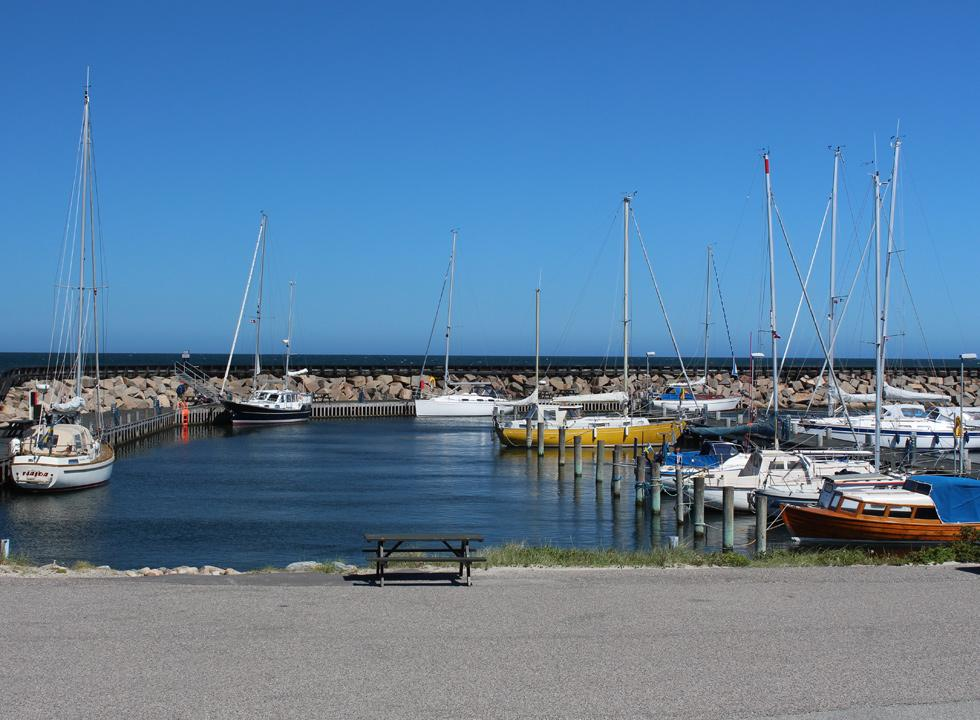 The cosy marina in Osterby on Laso