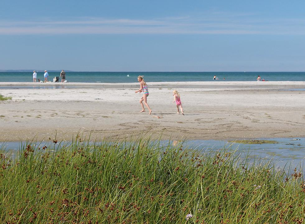 Children play on the wide sandy beach in the southern part of Vestero Syd