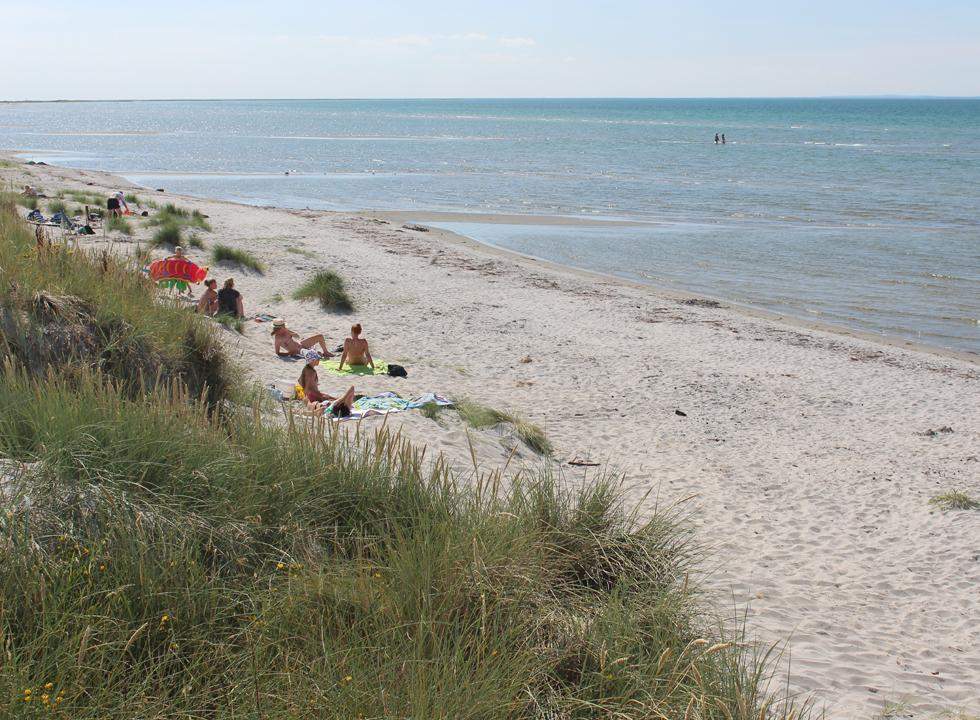 A summer day on the child-friendly beach in Vestero Syd on Laso