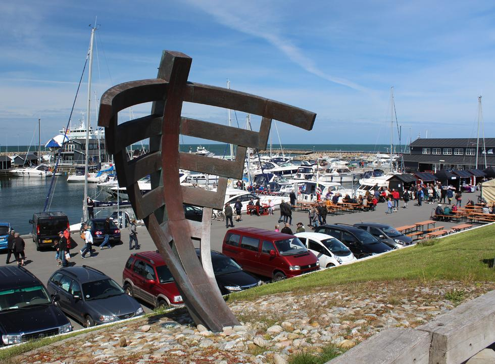 View of the harbour in Vestero from the bronze sculpture of a ship bow