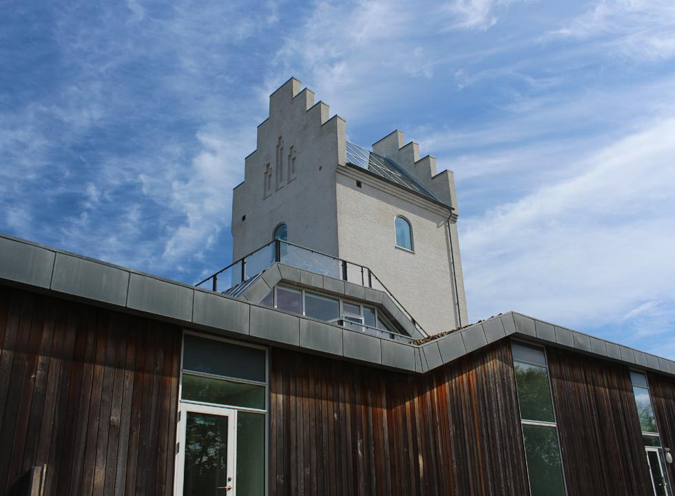 You can enjoy the view of Laso and the sea through the glass roof in the church tower at the spa, Laso Bad, in Vestero