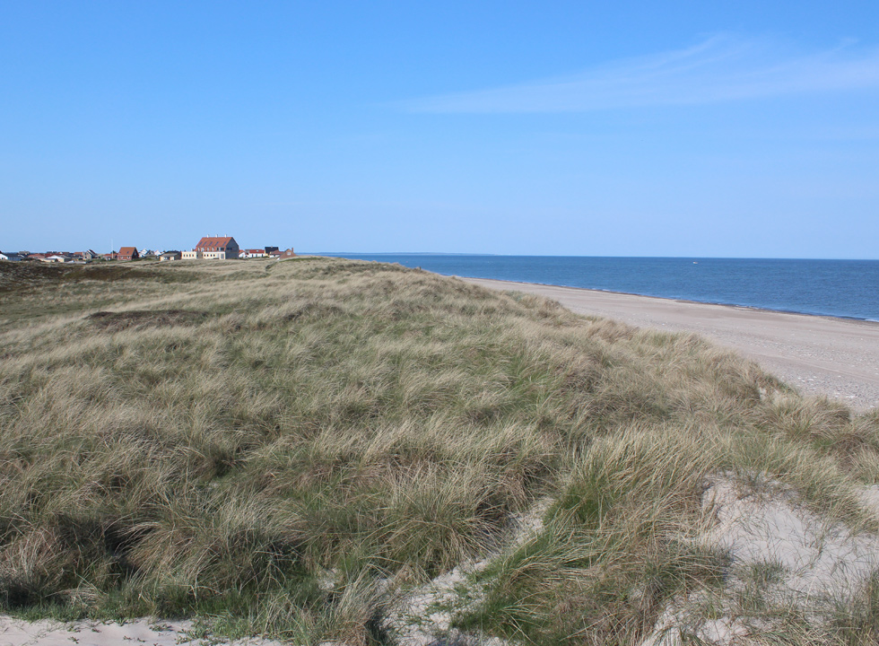 View towards the town and the holiday home area Lild Strand from the dunes